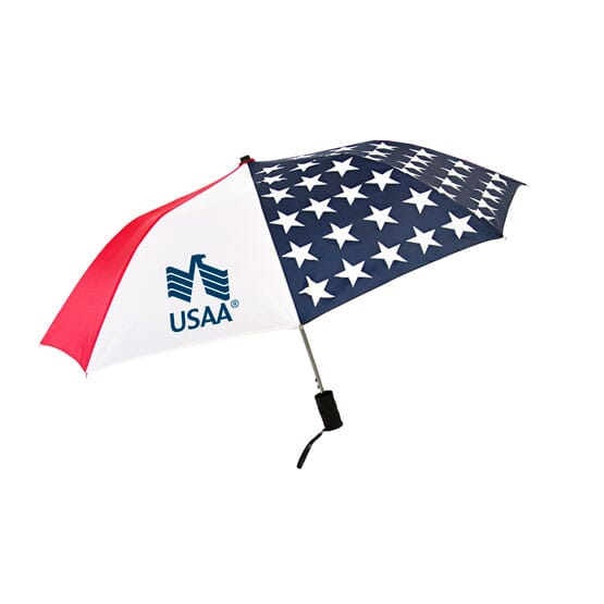 Red, white and blue American flag-print umbrella with navy blue logo.