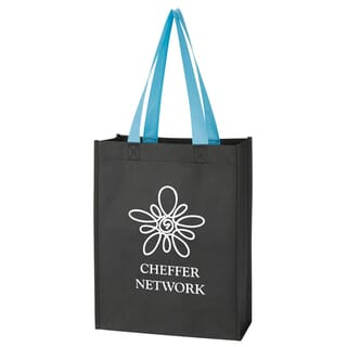 Black tote bag with blue handles and white logo
