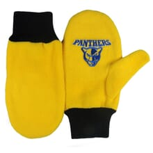 Black and gold fleece mittens with school logo