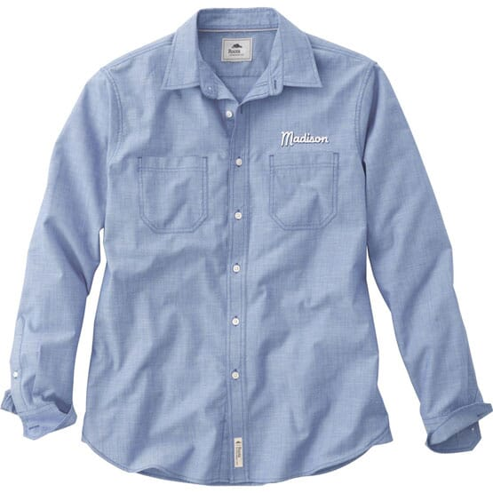Men's button down shirt with corporate logo