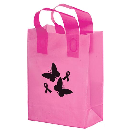 "10"" x 13"" x 5"" Large Pink Plastic Shopper"