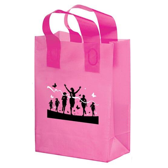 """8"""" x 10"""" x 4"""" Small Pink Plastic Shopper"""