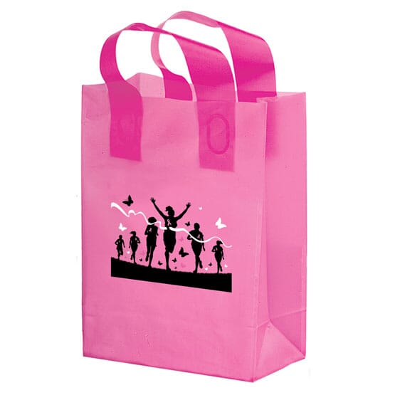 "8"" x 10"" x 4"" Small Pink Plastic Shopper"
