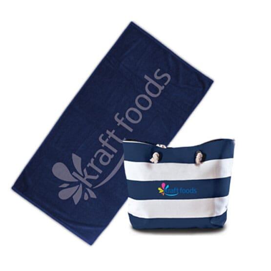 Striped Beach Bag And Towel