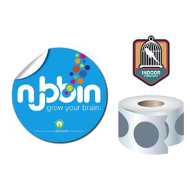"Roll Stickers/Decal Indoor Permanent 4"" Diameter Round"