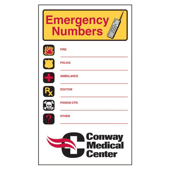 "3 1/2"" x 6"" Emergency Numbers Mega-Mags™ Magnet"