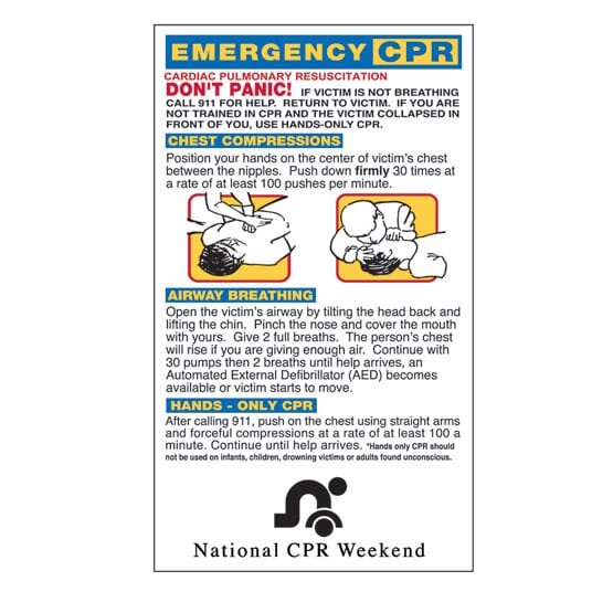 """3 1/2"""" x 6"""" Emergency CPR Mega-Mags™ Magnet"""