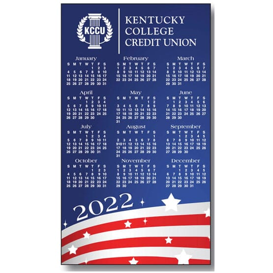 Red, white and blue small magnetic calendar with white logo.