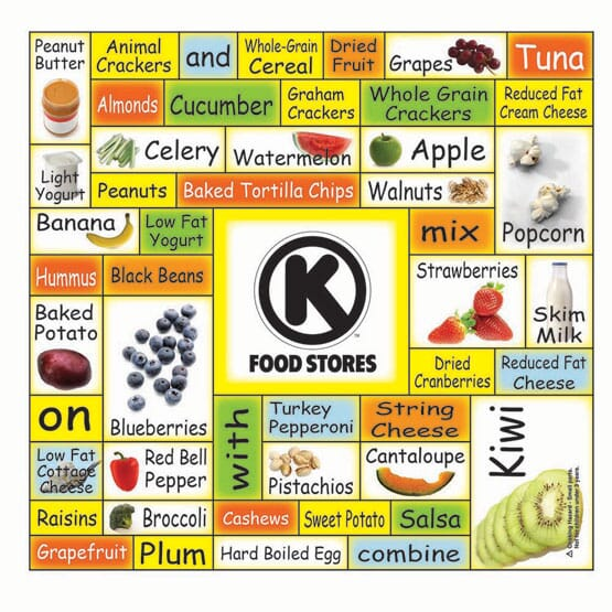 "5 1/4"" x 5 1/2"" Healthy Snacks Words Plus™ Rectangle"