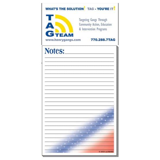 White business card magnet with blue and yellow logo attached to white notepad with red, white and blue stripes.
