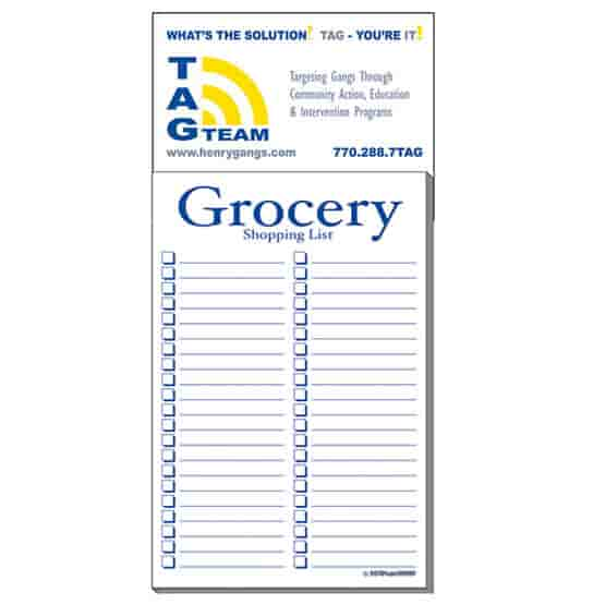 """3 1/2"""" x 7 1/2"""" Business Card Add-On™ Magnet + Large Pad - Grocery List"""
