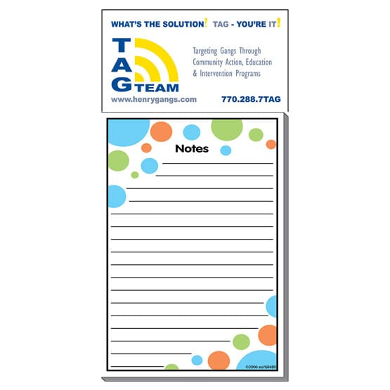 """3 1/2"""" x 7 1/2"""" Business Card Add-On™ Magnet + Large Pad- Bubbles"""