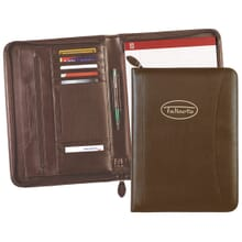 Brown faux leather padfolio with beige logo