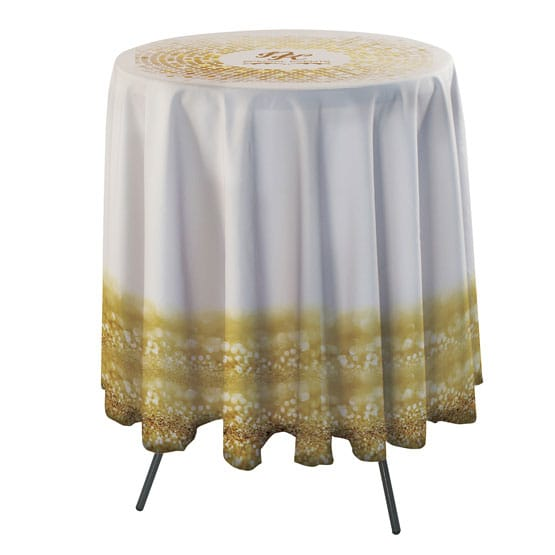 Round Bar Side Drape Table Throw