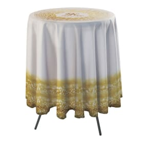 Round Bar Side Drape Table Throw