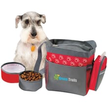 Red and gray dog travel set with cooler bag, bowls, and bag dispenser