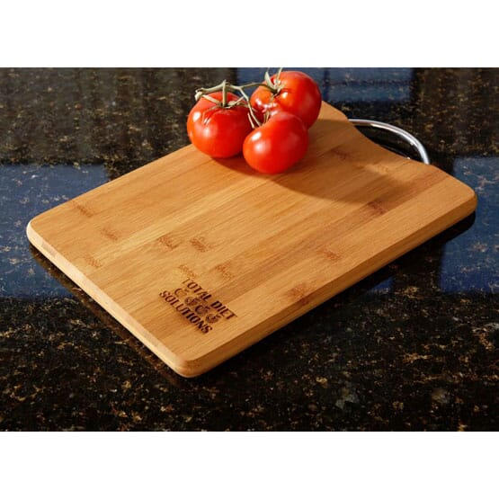 Bamboo cutting board with handle and engraved logo