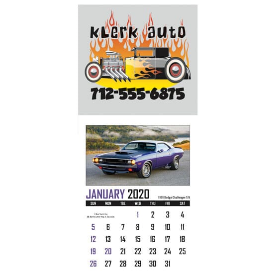 sticky wall calendar with muscle cars