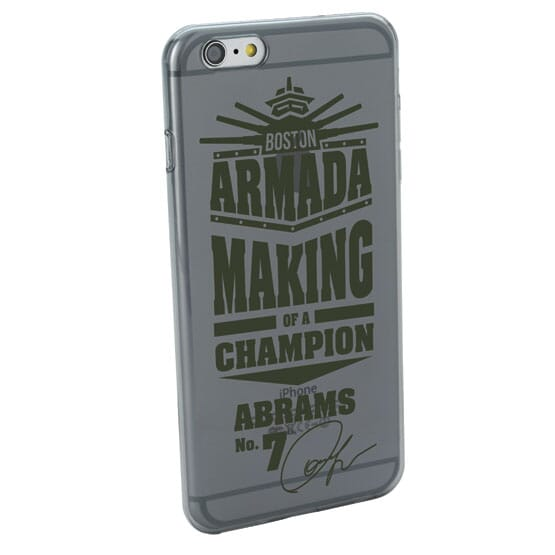 Translucent phone case with gray text on a silver iPhone.