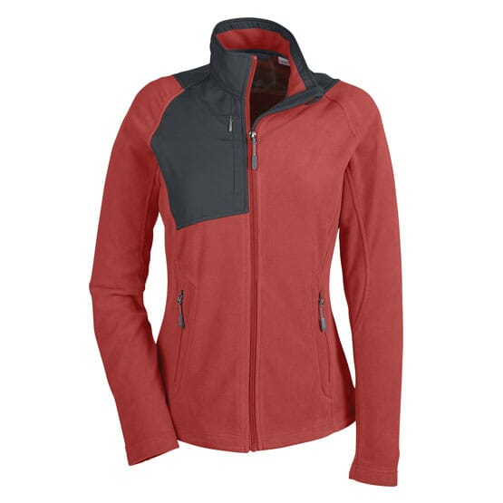 cbf101257 (24) RUST North End® Ladies' Excursion Trail Fabric-Block Fleece Jacket,  EMBROIDERY (UP TO 10,000 STITCHES)