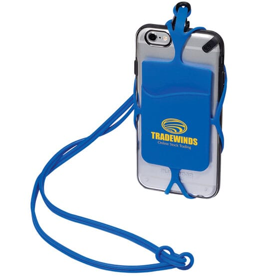 Blue silicone phone wallet with yellow logo and matching lanyard attached to the back of a silver iPhone.
