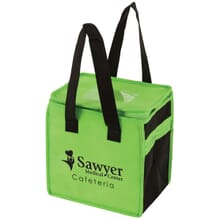Green and black lunch cooler bag with hospital logo