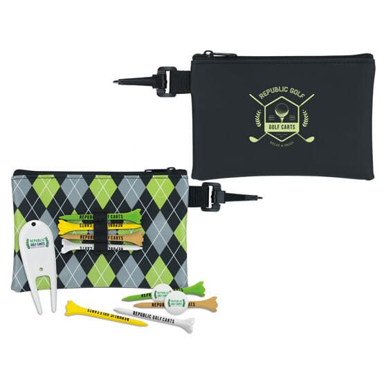 "2 3/4"" Pattern Golf Pouch Tee Kit"
