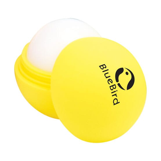 Customized lip balm with yellow rubber coating