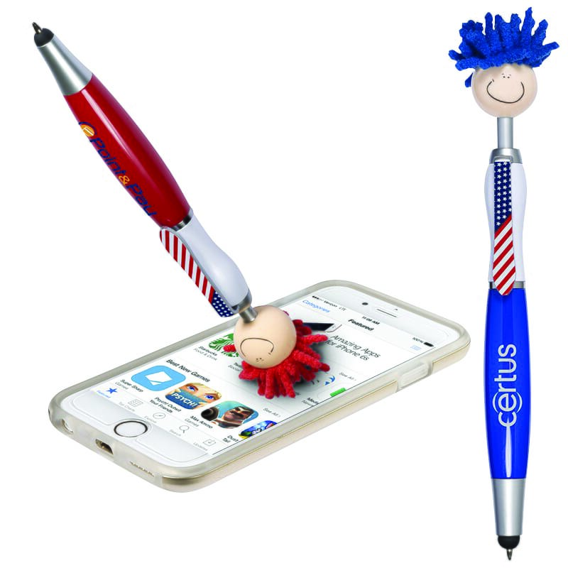 Blue and red stylus pens with phone screen cleaners and American flag-print accents.