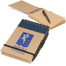 Brown cardboard spiral-bound notepad with blue logo and attached pen