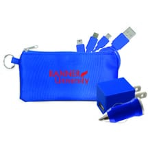 Blue tech charging accessory kit in stretchy bag