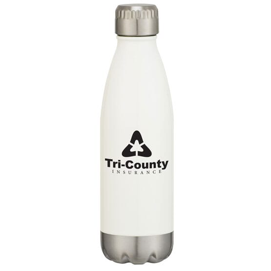 White and stainless steel insulated water bottle