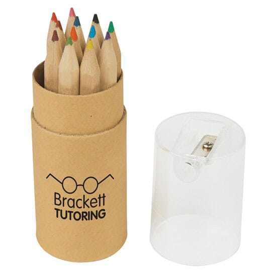 Colored pencils with sharpener case cover