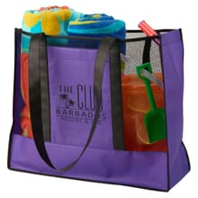Purple beach bag with mesh