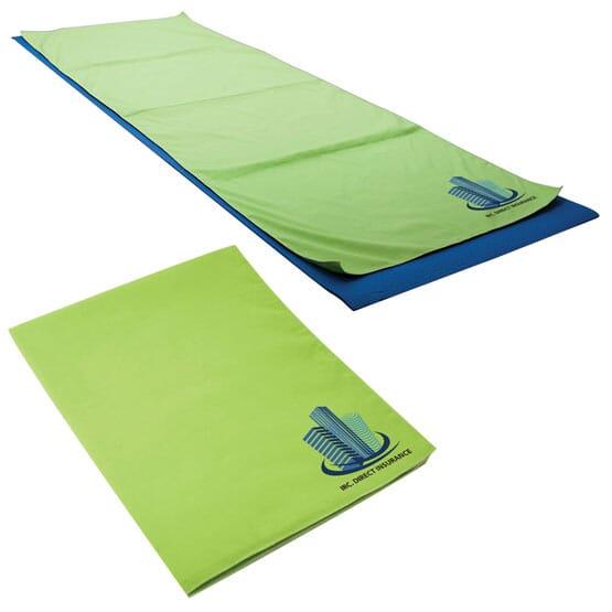 Green yoga towel