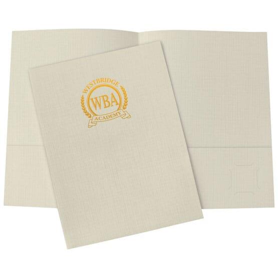 Cream linen folder with foil stamped logo