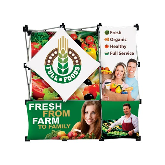 Metal display frame holding five full color banners
