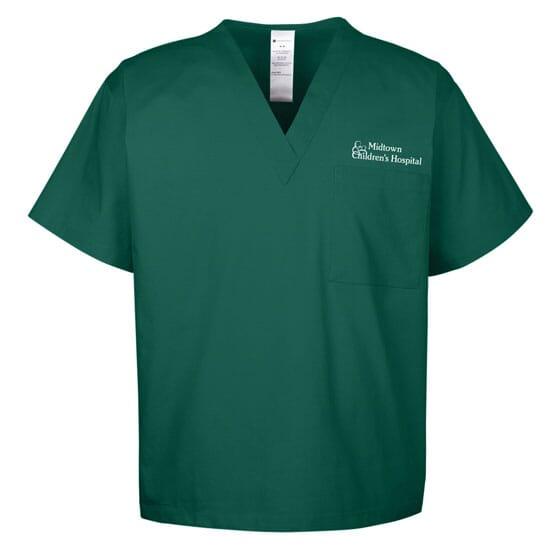 Forest green scrub top with organization logo