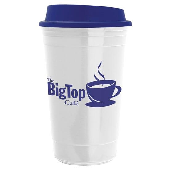 Blue and white reusable coffee mug