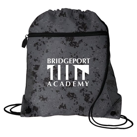Distressed Zip-Front Drawstring Backpack