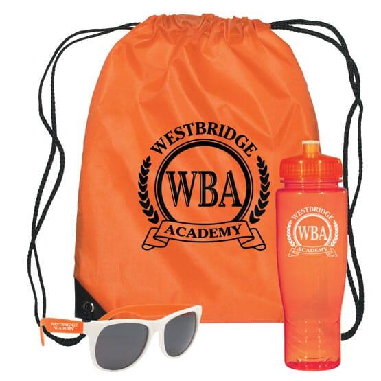 3 piece kit with orange bag, orange water bottle, and white and orange sunglasses