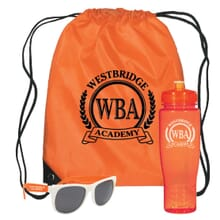 3 piece kit with orange bag, orange water bottle, and white and orange sunglasses