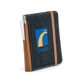 Dark blue denim notebook with brown trim and a blue and yellow logo