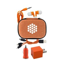 Orange travel charging accessory kit