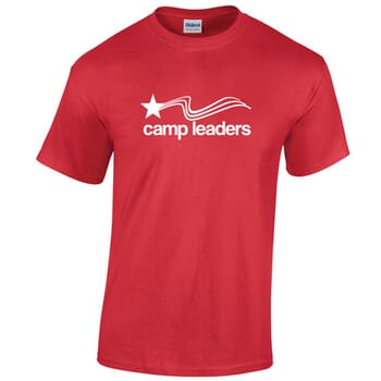 red tshirt with nonprofit logo
