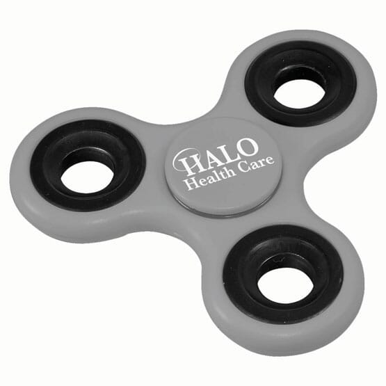 Gray fidget spinner with logo