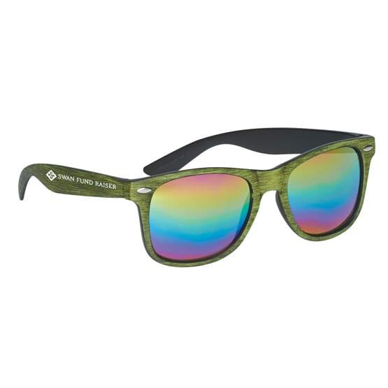 Cruise Retro Sunglasses - Mirrored Wood Tone