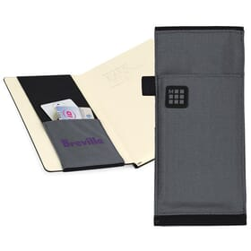 Grey Moleskine carry-all with beige lining and purple logo