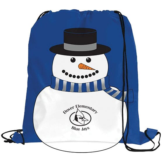 Snowman Drawstring Backpack with School Logo