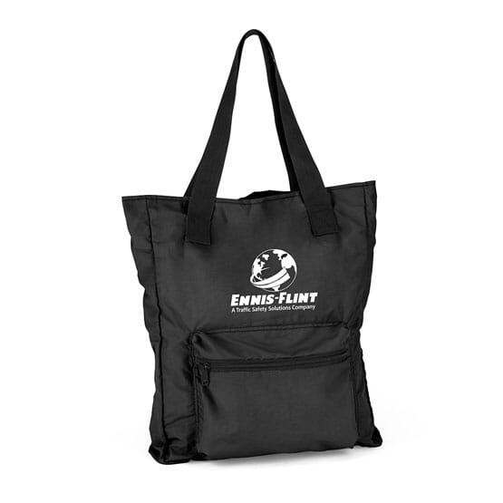 100 Black Foldaway Tote Bag 1 Color Imprint